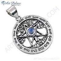 Designer Star Rainbow Moonstone Gemstone Silver Pendant