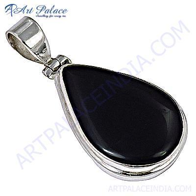 Midnight Oval Black Onyx Gemstone Silver Pendant