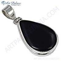 Midnight Oval Black Onyx Gemstone Silver Pendant