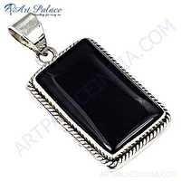 Vintage Designer Black Onyx Gemstone 925 Sterling Silver Pendant