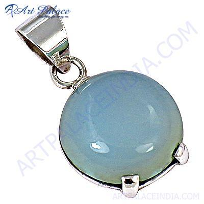 Exclusive Gemstone Blue Chalcedony Silver Pendant