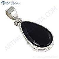 Wholesale Handmade Gemstone Silver Pendant With Black Onyx