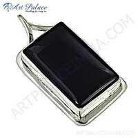 Vintage Black Onyx Gemstone Silver Pendant