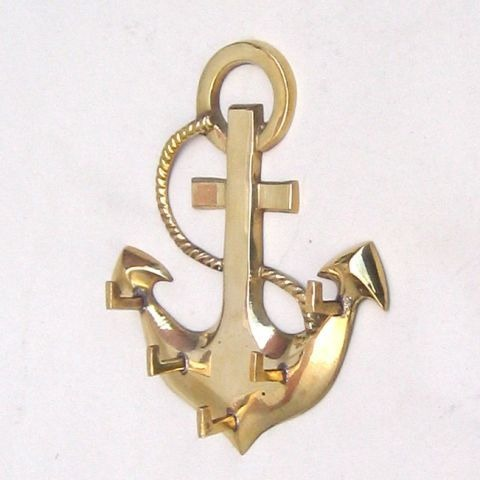 NAUTICAL BRASS  ANCHOR KEY HANGER 6X5