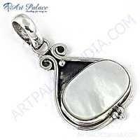 Feminine Unique Pearl Gemstone Silver Pendant