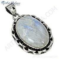 Delicate Rainbow Moonstone Gemstone Silver Pendant