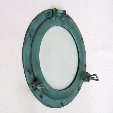 NAUTICAL ALUMINIUM PORTHOLE  GLASS GREEN 12