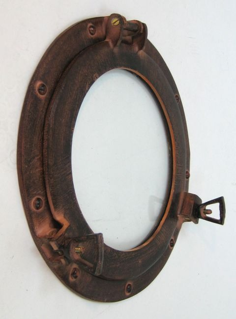 NAUTICAL ALUMINIUM PORTHOLE GLASS RED BROWN 12