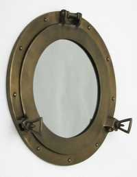 NAUTICAL ANTIQUE  ALUMINIUM PORTHOLE MIRROR 15
