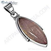 Romantic Rose Quartz Gemnstone Silver Pendant