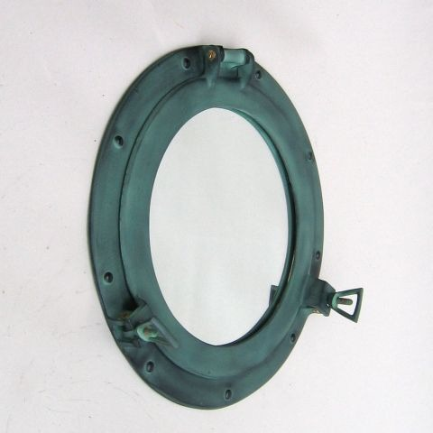 NAUTICAL ALUMINIUM PORTHOLE MIRROR GREEN 15