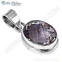New Extra Shine Amethyst Gemstone Sterling Silver Pendant