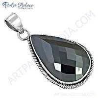 Dazzling Gun Metal Gemstone Silver Pendant