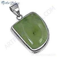 Antique Style Prenite Gemstone Sterling Silver Pendant