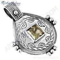 Traditional Citrine Gemstone Silver Pendant