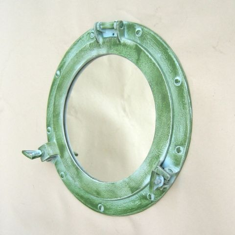 NAUTICAL ALUMINIUM PORTHOLE MIRROR LIGHT GREEN 12