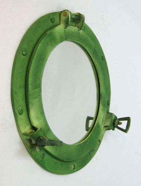 NAUTICAL ALUMINIUM PORTHOLE MIRROR GREEN 12