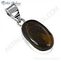 Elegant Tiger Eye Gemstone Silver Pendant