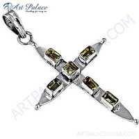 Cross Style Citrine Gemstone Silver Pendant
