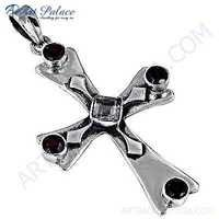 Truly Designer Cross Citrine & Garnet Gemstone Silver Pendant