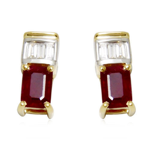tops earring design in ruby, ruby gold earring with diamonds, fine gold earrings for girls and women