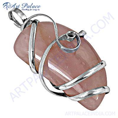 Romantic Rose Quartz Gemnstone Stylish Silver Pendant