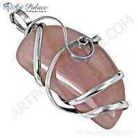 Romantic Rose Quartz Gemnstone Stylish Silver Pendant