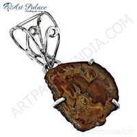 Excellent New Fashionable Ammonite Gemstone Silver Pendant