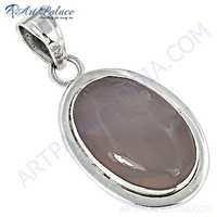 Pretty Gemstone Rose Quartz Silver Pendant