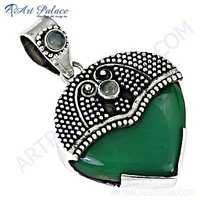 Antique Style Blue Chalcedony & Green Onyx Gemstone Silver Pendant