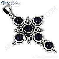 Trendy Cross Amethyst Gemstone Silver Pendant