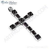Garnet Gemstone Silver Pendant In Cross Style