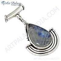 Exclusive Rainbow Moonstone Gemstone Sterling Silver Pendant