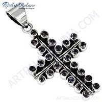 Designer Cross Style Amethyst Gemstone Silver Pendant
