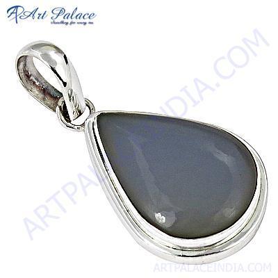 Celeb Style Pear Blue Chalcedony Gemstone Sterling Silver Pendant