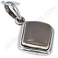 Delicate Rose Quartz Gemstone Sterling Silver Pendant