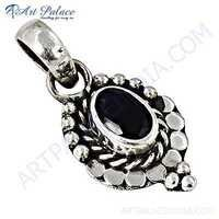 Fastival Designer Black Onyx Gemstone Silver Pendant