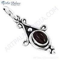 Ethnic Designer Garnet Gemstone Silver Pendant