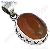 Vintage Gemstone Sterling Silver Pendant With Carnelian