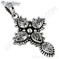 Indain Designer Cubic Zirconia Silver Cross Pendant