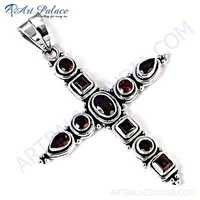 Cross Style Gemstone Silver Pendant With Garnet