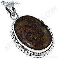 Elegant Gemstone Silver Pendant With Picture Jasper