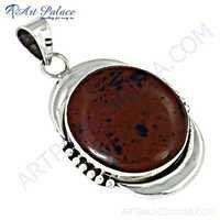 Indian Touch Red Jasper Gemstone Silver Pendant