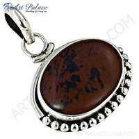 Celeb Style Designer Red Jasper Gemstone Silver Pendant