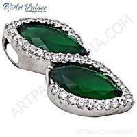 Charming Cubic Zirconia & Green Quartz Gemstone Silver Pendant