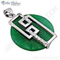 Latest Fashionable Cubic Zirconia & Green Aventurine Silver Pendant