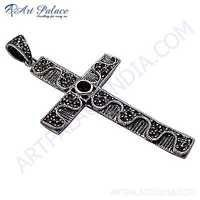 Cross Silver Pendant With Gemstone Garnet