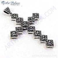 Ethnic Cubic Zirconia Sterling Silver Cross Pendant