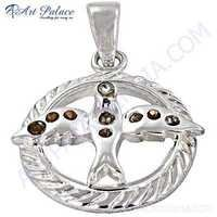Bird In Circle Cubic Zirconia Sterling Silver Pendant