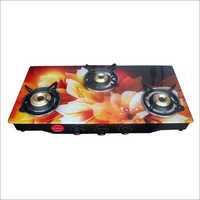Flower Print Three Burner Gas Stove